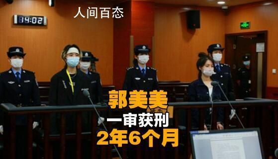 郭美美一审获刑2年6个月 并处罚金人民币20万元