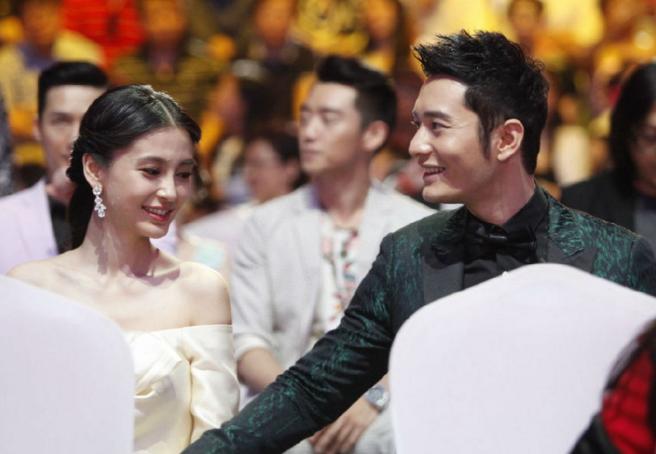 明星黄晓明与杨颖被媒体拍到一家三口其乐融融