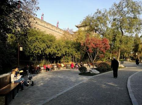 今日独家关注西安环城公园当中众多的健身大爷都是永远的神